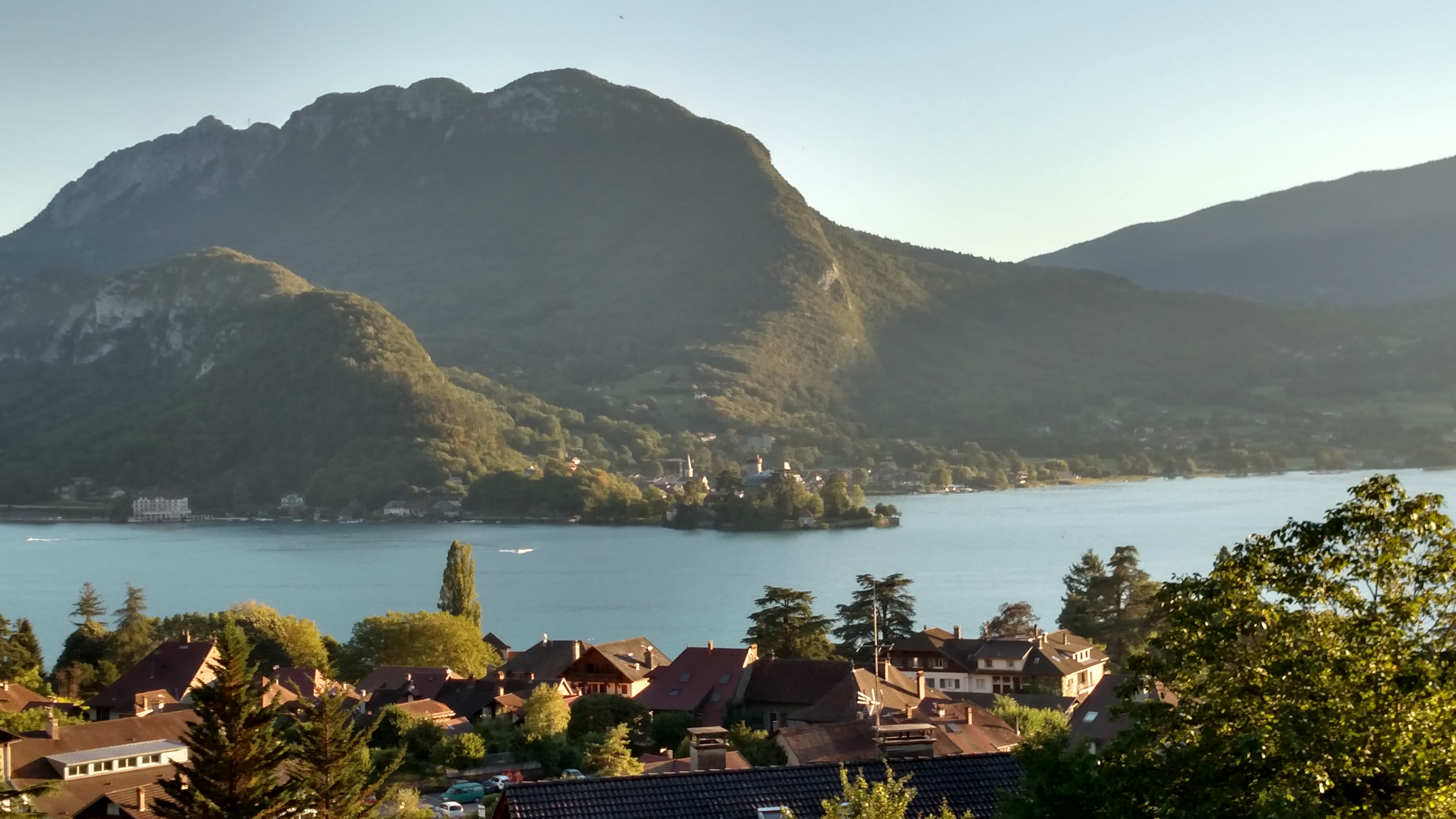 A view from above of the Lac d'Annecy and the village of Talloires
