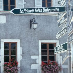 """A sign in Talloires indicating """"Le Prieure Tufts University"""""""