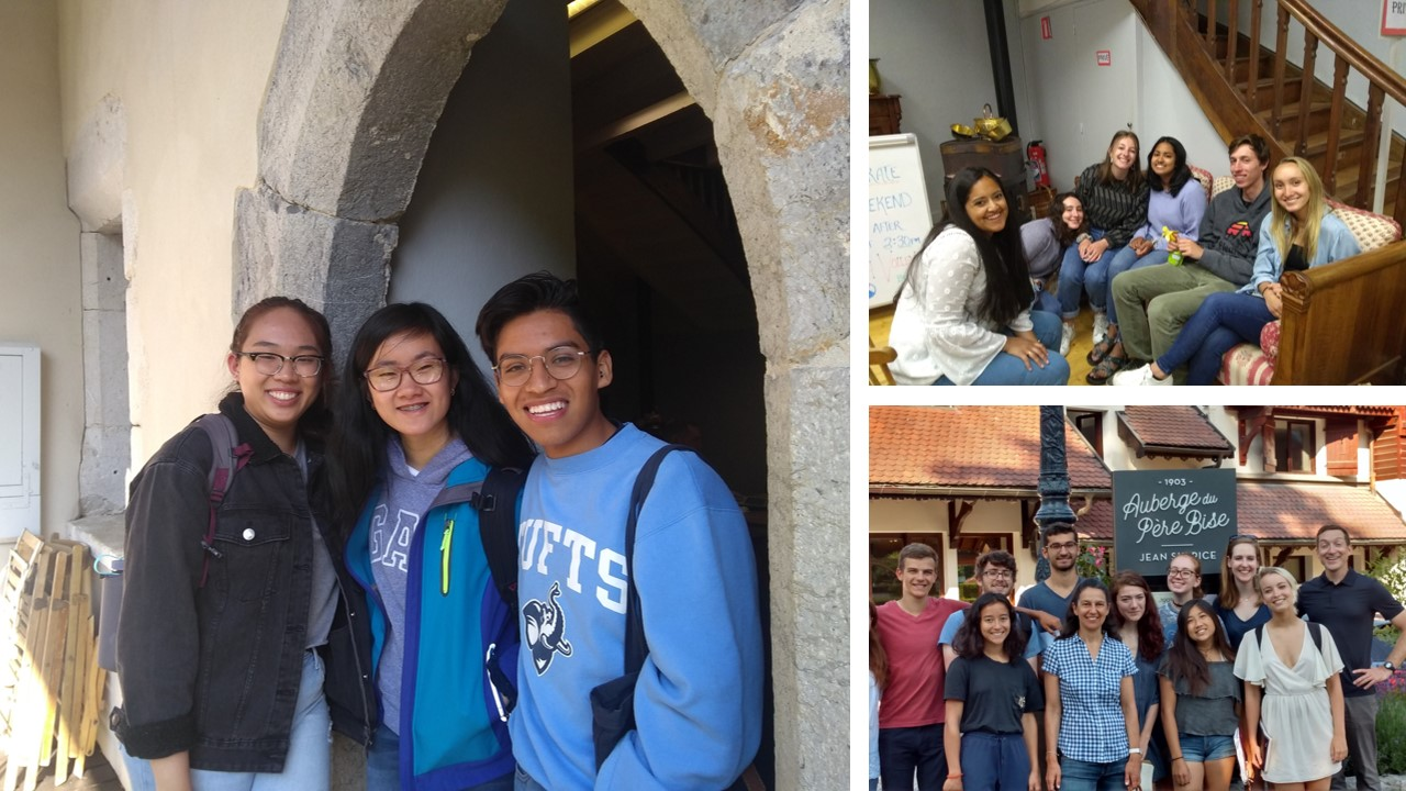 Three photos of groups of students