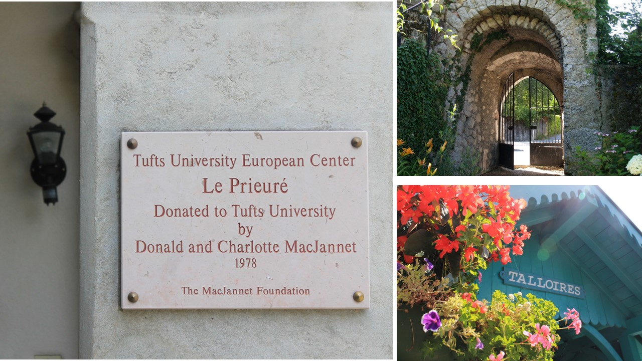 Three photos: the sign in front of the Tufts European Center in Talloires, the gate in front of the Priory, the Embarcadero in Talloires
