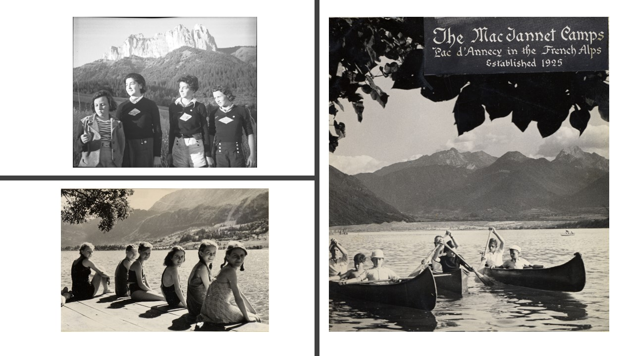 Three photos of the MacJannet Campers from the 1930s