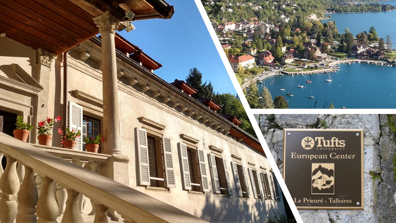 Three photos: the front facade of the Priory, the bay of Talloires, the European Center sign in Talloires