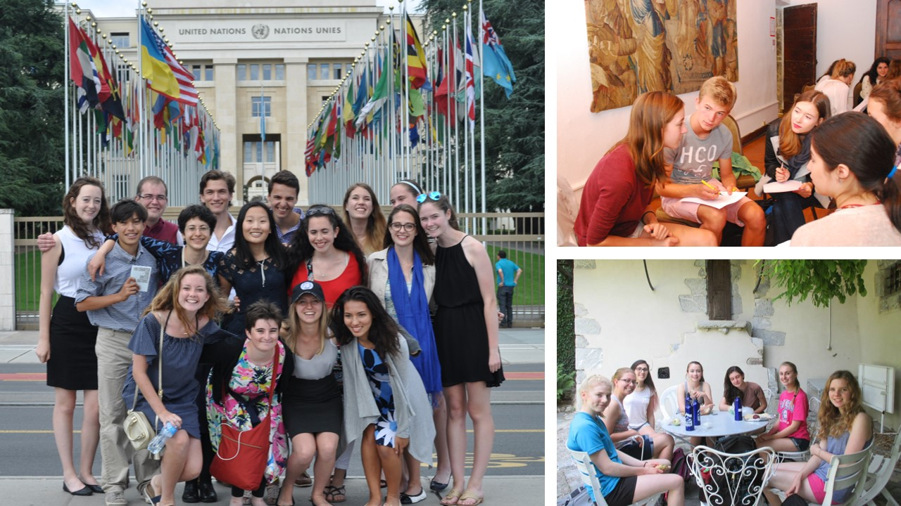 Three photos of groups of students participating in program activities